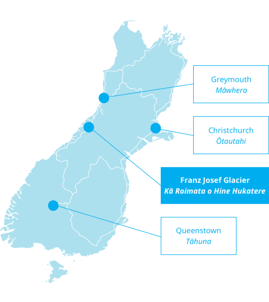 New Zealand Highway Map.How To Get To Franz Josef New Zealand